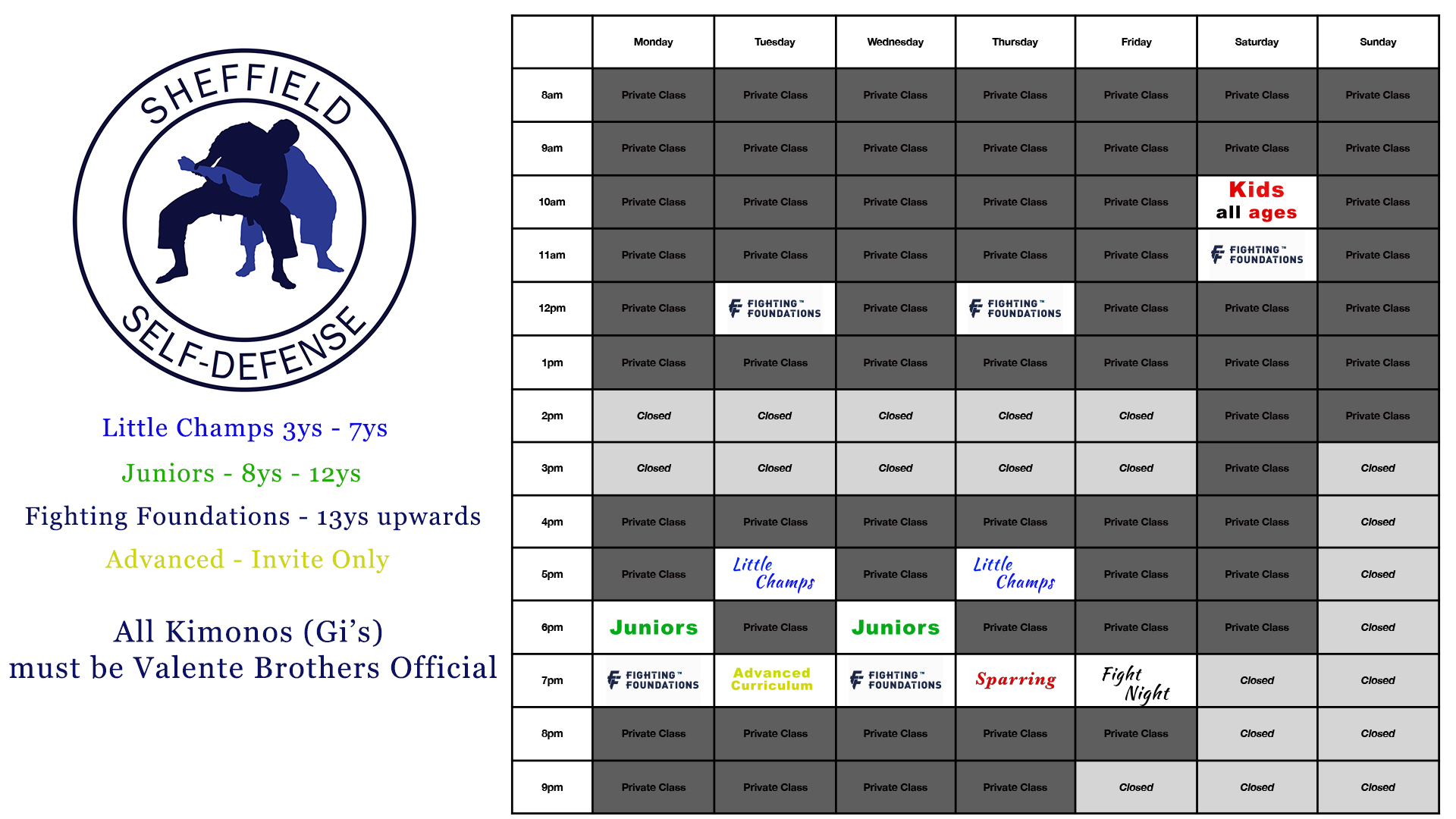 Sheffield Self-Defence Opening times