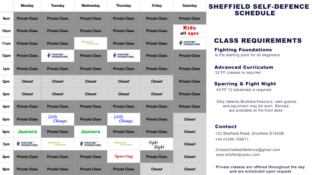 Sheffield Jiu jitsu Timetable